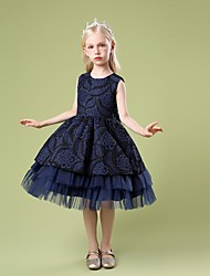 cheap -Kids Little Girls' Dress Jacquard Party Special Occasion Mesh Blue Blushing Pink Red Knee-length Sleeveless Princess Cute Dresses Children's Day Fall Winter Slim 3-10 Years / Spring / Summer