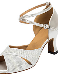 cheap -Women's Latin Shoes Professional Heel Sparkling Glitter Thick Heel Open Toe Silver Gold Buckle Adults' Party Heels Party Collections