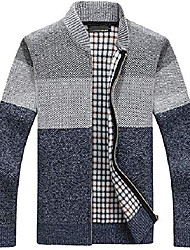 cheap -men's classic band collar full zip color-block stripe cable knitted cardigan sweater coat