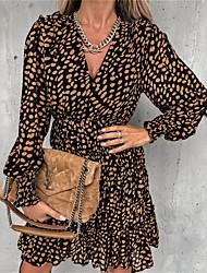 cheap -Women's A Line Dress Short Mini Dress Yellow Black Long Sleeve Polka Dot Ruffle Print Fall Winter V Neck Casual 2021 S M L XL XXL