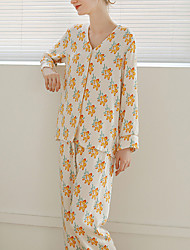 cheap -Women's Breathable Pajamas Sets Home Street Daily Going out Basic Elastic Waist Flower Polyester Simple Fashion Sport Shirt Pant Fall Winter V Wire Long Sleeve Long Pant Buckle Without Lining