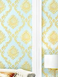 cheap -Wallpaper Wall Covering Sticker Film Embossed Stripe Pressed Damascus 4D Non Woven  Home Decor 53*950CM