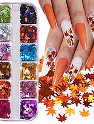 cheap -12 Grids Holographic Maple Leaves Nail Art Glitter Sequins Laser Maple Leaf Paillette Flake Autumn Manicure 3D Nails Decoration