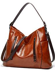 cheap -Women's Bags PU Leather Tote Crossbody Bag Top Handle Bag Zipper Plain Daily Going out Retro Leather Bag Handbags Wine Blue Fuchsia Black