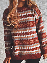 cheap -Women's Pullover Sweater Knitted Geometric Ethnic Style Vintage Style Long Sleeve Sweater Cardigans Crew Neck Fall Spring Gray Black Red