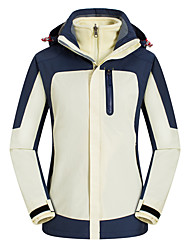 cheap -Women's Hiking 3-in-1 Jackets Ski Jacket Hiking Fleece Jacket Winter Outdoor Solid Color Thermal Warm Waterproof Windproof Breathable Hoodie Windbreaker Trench Coat Full Length Visible Zipper Fishing