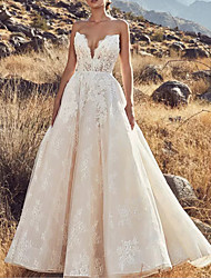 cheap -A-Line Wedding Dresses Strapless Floor Length Lace Tulle Sleeveless Country Sexy Luxurious Backless with Appliques 2021