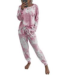 cheap -Women's Loungewear Sets Causal Daily Daily Wear Tie Dye Tie Dye Spandex Casual Daily Fall Winter Spring