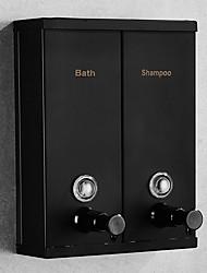 cheap -Bathroom Soap Dispenser Double Head Hotel Home Stainless Steel Shower Gel Dew Separator Wall Mount Black/Silver