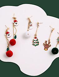 cheap -Women's Earrings Mismatch Earrings Chandelier Santa Suits Elk Bell Stylish Dangling Ethnic European Cute Earrings Jewelry Red / Green / White For Christmas Party Street Daily Festival