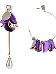 cheap -Women's Cubic Zirconia Mismatch Earrings Geometrical Flower Stylish Earrings Jewelry Purple For Party Gift Daily Festival 1 Pair