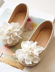 cheap -Girls' Flats Flower Girl Shoes Princess Shoes Lace Mesh Little Kids(4-7ys) Champagne White Fall Spring