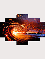 cheap -5 Panels Wall Art Canvas Prints Painting Artwork Picture Wave Painting Home Decoration Decor Rolled Canvas No Frame Unframed Unstretched