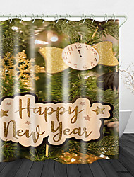 cheap -Christmas Pine Branches Printed Waterproof Fabric Shower Curtain Bathroom Home Decoration Covered Bathtub Curtain Lining Including hooks.