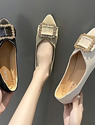 cheap -Women's Flats Pointed Toe Synthetics Rhinestone Solid Colored Green Black Beige