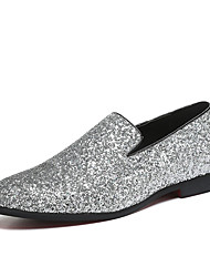 cheap -Men's Loafers & Slip-Ons Novelty Shoes Wedding Casual Party & Evening Walking Shoes Paillette Leather Glitter Silver Gold Black Fall Spring / Sparkling Glitter / Sequin