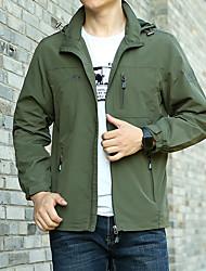 cheap -Men's Outdoor Jacket Street Daily Fall Spring Regular Coat Zipper Turndown Regular Fit Waterproof Windproof Breathable Casual Jacket Long Sleeve Solid Color Pocket Khaki Green Royal Blue