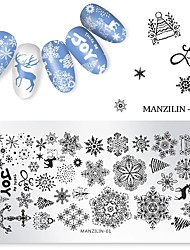 cheap -1 pcs Nail Stamping Plates Christmas Snowflake Pattern Nail Art Rectangle Plate Stamp Templates Printing Stencil Stainless Steel
