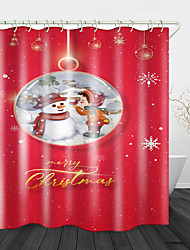 cheap -Christmas Snowman and Little Girl Printed Waterproof Fabric Shower Curtain Bathroom Home Decoration Covered Bathtub Curtain Lining Including hooks.