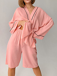 cheap -Women's Breathable Robes Gown Suits Pajamas Bathrobes Home Daily Bed Basic Elastic Waist Pure Color Polyester Simple Soft Shirt Shorts Fall Winter V Wire Long Sleeve Short Pant Lace Up