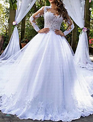 cheap -A-Line Wedding Dresses Jewel Neck Chapel Train Lace Tulle Long Sleeve Formal Luxurious with Lace Appliques 2021