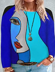cheap -Women's Plus Size Tops Blouse Shirt Abstract Portrait Print Long Sleeve Crewneck Streetwear Fall Blue Purple Yellow Big Size L XL XXL 3XL 4XL