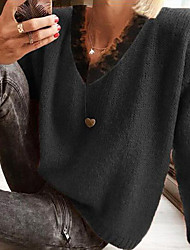 cheap -Women's Pullover Sweater Jumper Knitted Solid Color Stylish Long Sleeve Sweater Cardigans V Neck Fall Winter Gray Black