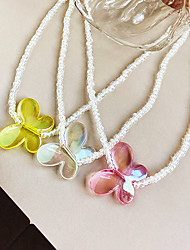 cheap -Choker Necklace Beaded Necklace Women's Beads Resin Butterfly Artistic Colorful Vintage European Sweet Luminous Lovely Yellow Pink White 42+7.5 cm Necklace Jewelry for Street Daily Holiday Club