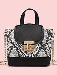 cheap -Women's Bags PU Leather Crossbody Bag Top Handle Bag Chain Crocodile Daily Date Handbags Chain Bag Blushing Pink White Black Red
