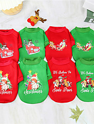 cheap -Dog Cat Sweatshirt Christmas Costume Christmas Santa Claus Christmas Tree Santa Claus Adorable Cute Christmas Dailywear Winter Dog Clothes Puppy Clothes Dog Outfits Breathable Pink and Green Red and