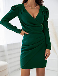 cheap -Women's Sheath Dress Short Mini Dress Wine Green Black Brown Long Sleeve Solid Color Ruched Fall Winter V Neck Casual 2021 S M L XL XXL / Party Dress