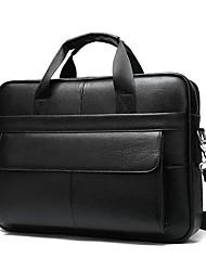 cheap -Men's Bags Nappa Leather Cowhide Briefcase Zipper Daily Handbags Black Coffee