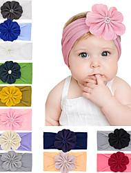 cheap -12 pcs/set Fashion Children's Nylon Bunny Ears Baby Stretch Big Flower Headband Baby Headband Headband