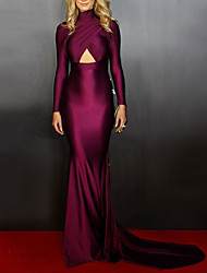 cheap -Mermaid / Trumpet Celebrity Style bodycon Engagement Formal Evening Dress High Neck Long Sleeve Court Train Charmeuse with Criss Cross 2021