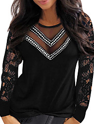 cheap -Women's Plus Size Tops Blouse Plain Lace Patchwork Long Sleeve V Neck Basic Streetwear Daily Going out Cotton Fall Red Black