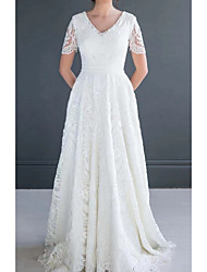 cheap -A-Line Wedding Dresses V Neck Sweep / Brush Train Lace Short Sleeve Romantic with Appliques 2021