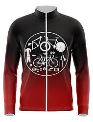 cheap -21Grams Men's Long Sleeve Cycling Jersey Spandex Red Gradient Bike Top Mountain Bike MTB Road Bike Cycling Quick Dry Moisture Wicking Sports Clothing Apparel / Athleisure