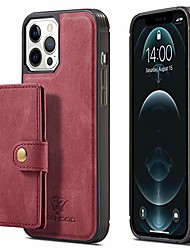 cheap -detachable slim wallet phone cover for iphone13 pro 2021,6.1inch red kickstand with4 card slots 2 money pocket, wireless charging support drop protection gift for gift girls boy unisex
