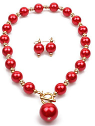 cheap -Women's Pearl Bridal Jewelry Sets Geometrical Love Stylish Earrings Jewelry Red / Grey / Burgundy For Party Wedding Daily Festival 1 set