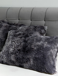 cheap -Long Faux Fur Soft Solid Decorative Pillowcase Oblong Fluffy Throw Pillow Cover Velvet Shaggy Plush Cushion Case Set of 2 Zipper Closure Queen/King/Body Size