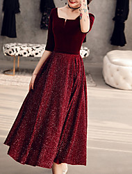 cheap -A-Line Glittering Elegant Homecoming Cocktail Party Dress Scoop Neck Half Sleeve Tea Length Velvet with Sash / Ribbon Sequin 2021