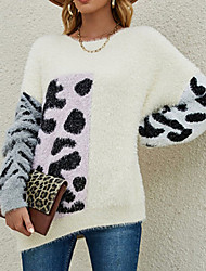 cheap -Women's Pullover Sweater Jumper Knitted Leopard Stylish Casual Soft Long Sleeve Sweater Cardigans Crew Neck Fall Winter Blushing Pink Green Beige