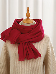 cheap -Women's Shawls & Wraps Christmas Black Scarf Pure Color Basic Red Fall Winter Imitation Cashmere