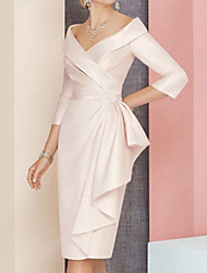 cheap -Sheath / Column Mother of the Bride Dress Plus Size Elegant Vintage V Neck Knee Length Satin 3/4 Length Sleeve with Sash / Ribbon Ruching 2021