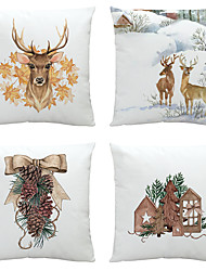 cheap -Christmas Party Deer Double Side Cushion Cover 4PC Soft Decorative Square Throw Pillow Cover Cushion Case Pillowcase for Bedroom Livingroom Superior Quality Machine Washable Indoor Cushion for Sofa Couch Bed Chair