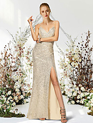 cheap -Mermaid / Trumpet Sparkle Sexy Engagement Formal Evening Dress V Neck Sleeveless Sweep / Brush Train Sequined with Ruched 2021