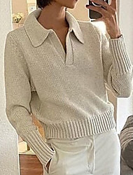 cheap -Women's Pullover Sweater Jumper Knitted Solid Color Stylish Basic Casual Long Sleeve Sweater Cardigans V Neck Fall Winter Fuchsia Green Black