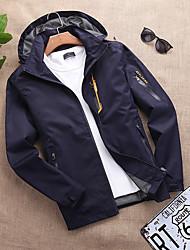 cheap -Men's Outdoor Jacket Street Outdoor Fall Spring Regular Coat Regular Fit Waterproof Windproof Breathable Casual Jacket Long Sleeve Solid Color Pocket Blue Gray Black