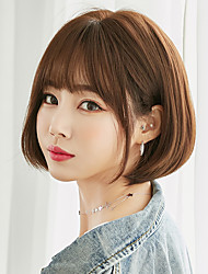 cheap -Bobo Latest Style Fashion Short Black Brown Synthetic Wig With Bang For Women Non-Reflective Shopping Party Daily Wear Wig