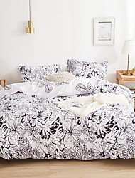 cheap -3-Piece leaves Printed Duvet Cover Set Hotel Bedding Sets Comforter Cover, Include 1 Duvet Cover, 2 Pillowcases for Queen/King(1 Pillowcase for Twin)